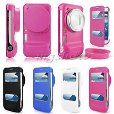 Fashion Flip Dual View Leather Cover Stand Case For Samsung Galaxy S4 Zoom C101