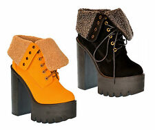 S499 - Ladies High Heeled Chunky Cleated Sole Platform Ankle Boots - UK 3 - 8