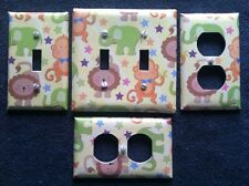 LIGHT SWITCH COVER PLATE - NURSERY JUNGLE ANIMALS - FAST SHIPPING!!  WOW!!