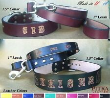 """Dog Collars and Leashes, Custom made Dog Collar and Leather Leash, 1.5"""" XL Dog"""