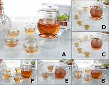 Kinds Heat Resistant Glass Tea Set-18.6fl.oz QE Teapot w/ Tea Cups (w/ Warmer A)