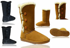 Womens Ladies Leather 3 Bailey Button Mid Calf Boots Real Sheepskin Shoes Size 5