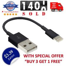 """Short 5"""" USB Cable Charger Data Sync for iPhone 5 S/C 6 Portable Charging Cord"""