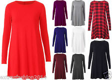 Womens Ladies Plain Long Sleeve Red Tartan Casual Swing Flared Skater Dress