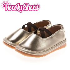 Girls Infant Toddler - Leather Squeaky Shoes - Gold & Brown