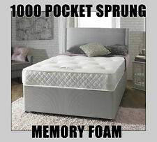 1000 POCKET SPRING MEMORY FOAM DIVAN BED SET SINGLE DOUBLE KING WITH MATTRESS