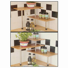 2 / 3 Tier Bamboo Kitchen Rack Storage Shelves Unit Space Saving Portable Holder