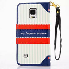 Navy Style CARD Magnet PU Leather Stand Cover Case For Samsung Galaxy+Wristlet