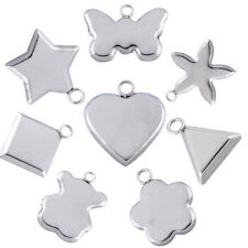 10PCs Stainless Steel Silver Polished Concave Necklace Pendant Jewelry Making