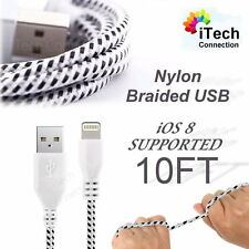10FT Braided Nylon USB Data Sync Charger Cable Cord fit iPhone 6 Plus 5S 5C 5