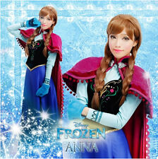 Disney New Movie Frozen Snow Queen ANNA Dress Cosplay Costume Full Set