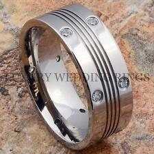 Titanium Ring Mens Wedding Band Diamonds Simulated Bridal Jewelry  Size 6-13