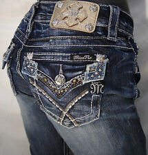 Miss Me Jean Crystal Stone Jewels Gold Sequins Boarder White Stitch Boot Cut NWT