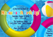 Pool Party Themed Birthday Party Invitations - FREE SHIPPING!