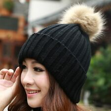 4 Colors Women Winter Braided Knit Ski Crochet Beanie Hat Cap With Fur Ball