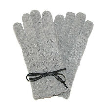 New Jeanne Simmons Womens Angora Pointelle Knit with Bow Lace Gloves