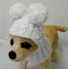 Pet Clothes Apparel Winter Outfit White Snow- Hat for Small Dog Handmade