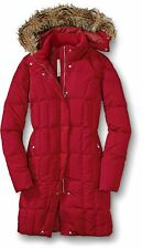 NEW Women's Eddie Bauer Lodge Down Parka Fill Power NWT Goose Lipstick Red