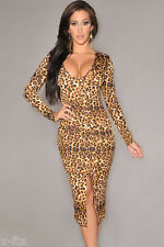 Sexy Long Sleeve Leopard Print  Front Slit Midi Evening Party Cocktail Dress