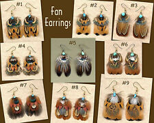 CUSTOM Real Pheasant Feather Earrings - FAN DESIGN ~ Handmade in USA!