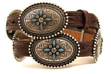 Ariat Western Womens Belt Leather Oval Concho Turquoise Stone Brown A1516002