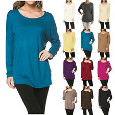 USA Women Scoopneck Tunic Top Long Sleeve Knit Basic Casual Solid S M L XL