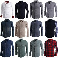 9 colors men s casual dress formal slim fitted shirts sale online US UK 4SIZE