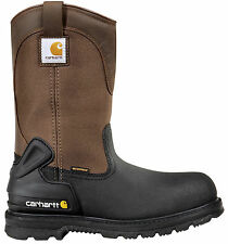 Men's Carhartt Work Boots Pull On Waterproof Steel Toe Brown (D, M) CMP1259