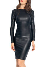 Reversible Faux Leather Midi party dress Sexy women evening clubwear