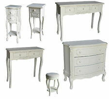 Shabby Chic Cream Wash Furniture Bedside, Dressing Tables Drawers Stools Vintage