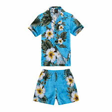 Boy Toddler Aloha Shirt Set Shorts Beach Hawaiian Cruise Luau Cotton Turquoise