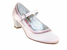 Girls Children New Low Heel Shoes Mary Jane Style Pink Occasion Wedding Party