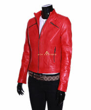 Lucy Red Biker Style Designer Ladies Retro Real Lambskin Leather Jacket
