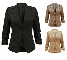 WOMENS 3/4 RUCHED SLEEVE ONE BUTTON SLIM FIT BLAZER  LADIES JACKET COAT 8-16
