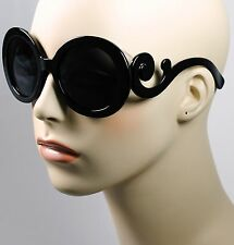 Womens Designer Inspired Round Fashion Sunglasses Baroque Swirl Arms Eyewear