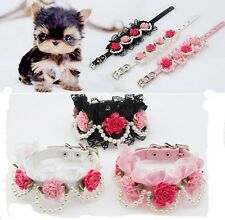 1x Small Pet Dog Cat Puppy Imitation Pearls Flower Lace Necklace PU Collar New