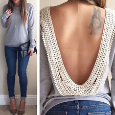 Fashion Womens Sexy Backless Deep V-Neck Long Sleeve T-Shirt Casual Blouse Tops