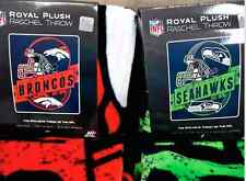 "NFL Team 50 x 60"" Grand Stand Royal Plush Raschel Throw Blanket NEW"