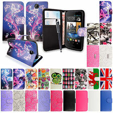 For Various HTC Mobile Phones New Printed PU Leather Book Flip Case Cover+Stylus