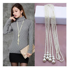 fashion multilayer pearl sweater chain long necklace Joker long sweater necklac