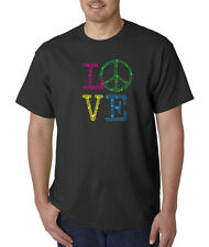 Neon Peace Love Puff Sign Colorful Music Smiley Equality T-Shirt S-5XL