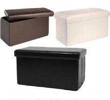 Faux Leather Storage Pouffe Available in 2 Sizes & 3 Colours