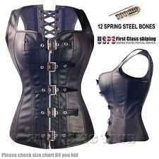 FULL STEEL BONED WAIST TRAINING BUCKLE WAISTCOAT CORSET ZIPPER BUSTIER TOP S-9XL