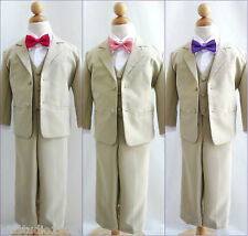 Boy khaki/taupe/white formal suit with fuchsia pink red purple coral bow tie