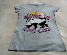 Womens Junior Honey Badger XL(15/17) Tee Shirt Gray With Honey Badger On Front