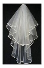 """UK Store New ivory/white wedding bridal veil with comb 2 tier 38"""" elbow length"""