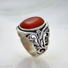 Hand made finish mens ring with Agate stone - Sterling Silver ring 925
