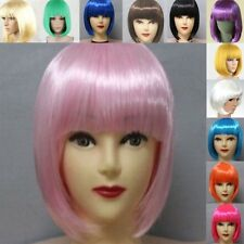 BOBO Cosplay Party Full Wigs Hair Full Bangs Short Straight Wig 12 Colors U60