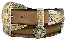 "Gold Horseshoe Berry Concho Men's Western Leather Belt 1-1/2"" (38mm) Wide"