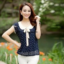 New Casual Sweet Women Ladies Chiffon Dot Doll Collar Short Sleeve Tops Blouse